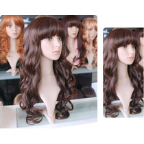 Peruca Longa Fashion 65cm Full Wig Castanho Medio Ondulado