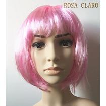 Peruca Curta Fibra Sintetico Festa Cor Rosa Para Carnaval