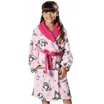 Roupão Infantil Fleece Estampado Gata Marie Lepper
