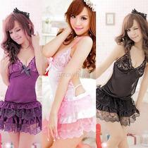 Vestido Camisola Babydooll Sexy,3 Cores