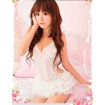 Sexy Sleepwear Branco Lingerie Baby Doll Traje Erótico
