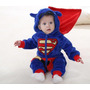 Pijama Fantasia Macacão Bebê Plush Hero Superman Filme Capuz