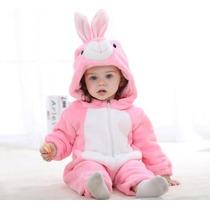 Pijama Fantasia Macacão Bebê Plush Coelho Rosa Animal Capuz
