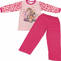 Pijama Longo Infantil De Meia Malha Calça Camisa Lovely Day