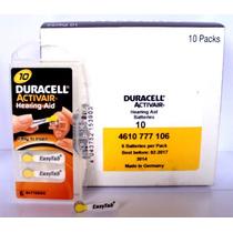 60 Pilhas Para Aparelhos Auditivos Duracell P10