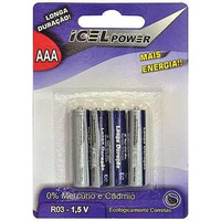 Pilha Palito Icel Power Aaa 1,5v Blister 4 Pilhas