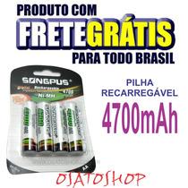 Pilha Recarregável 4700mah Aa Original 4 Unidades Frete Free