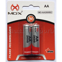 Pilha Bateria Recarregável Aa Mox 2600mah Pacote Com 2 Un.