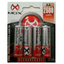 Kit 4 Pilhas Aa 2a Recarregáveis Mox 2600 Mah Niquel Bateria
