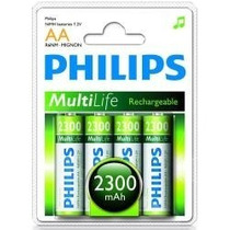 Pilha Aa Recarregável Original Philips 4 Un. 2300 Mah