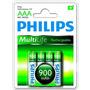 Kit Com 4 Pilhas Philips Recarregavel Aaa Original 900mah