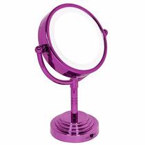 Espelho Mesa Com Luz E Aumento 3x Dupla Face Para Maquiagem