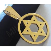 Pingente Masculino Estrela De Davi Aço Inox 316l Cor:ouro
