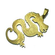 Pingente Aço Inox Dragão Dourado Frete Grátis