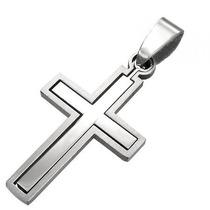 Pingente Aço Inox Cruz Crucifixo Encaixe 100% Aço Inox 316l