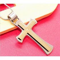 Colar Masculino Crucifixo - Cruz Aço Inoxidável + Corrente