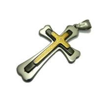 Pingente Pai Nosso Oração Aço Inox Preto Dourado