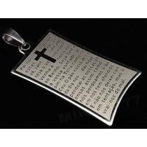 Pingente Masculino Placa 100% Aço Inox 316l Oração Pai Nosso