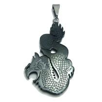 Pingente Dragão Aço Black Inox Inspirartz