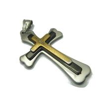 Pingente Cruz Crucifixo Pai Nosso Aço Inox Dourado Preto