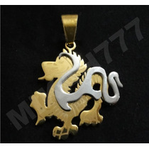 Pingente Dragão Masculino Aço Inox 316l Cor: Prata E Dourado