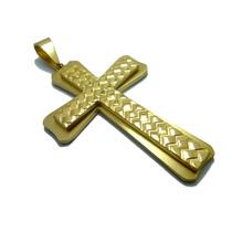 Pingente Aço Inox Cruz Crucifixo Dourado Tam G Inspirartz