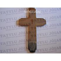 Frete Grátis Pingente Crucifixo Aço C/oração Pai Nosso Tam.g