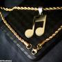 Colcheia Nota Musical Clave Músico Aço Dourado Ping + Corr