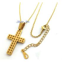 Pingente Cruz Crucifixo + Colar Aço Cor Ouro Com Regulagem!!