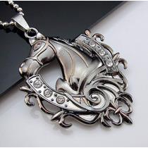 Pingente Cavalo Cabeça C/ Strass Aço Inoxidável + Corrente