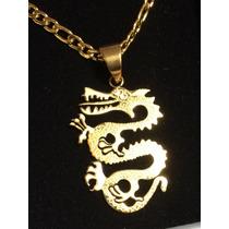 Corrente Dourada 50cm Com Pingente Dragão