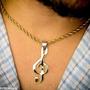 Clave De Sol Nota Musical Músico Aço Dourado Ping + Corr