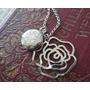 Pingente Relicário 2 Fotos,flor + Corrente,colar Em Aço Inox