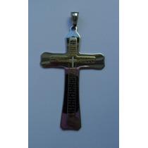 Pingente Cruz Crucifixo Oração Pai Nosso Inoxidável Prata