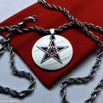 Pentagrama 3x1 Corrente E Pingente Aço Wicca Estrela Salomão