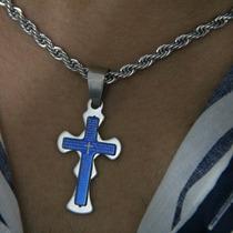 Crucifixo Cruz Pai Nosso Aço Azul Corrente Masc. Ou Fem.
