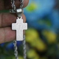 Crucifixo Cruz Oração Pai Nosso Aço Pingente Com Corrente