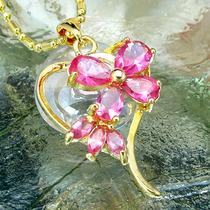 Pingente Coracao Cristal Rosa Safira Folh Ouro 18k 2012