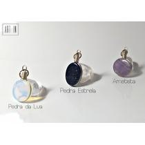 Kit 7 Pingentes Pedra Estrela Ametista Ágata Azul Ônix E Etc