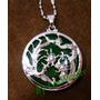 Amuleto Pingente Pedra Verde Com Dragão E Fênix Chineses