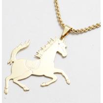 Gargantilha Cavalo Folheada A Ouro Frete Gratis
