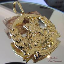 Pingente São Jorge Vitorioso Guerreiro Em Ouro Banhado 18k
