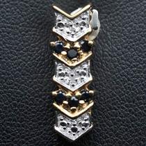 Lindo Pingente Prata 925 Folheado A Ouro Safiras Diamante