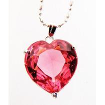 Pingente Coração De Cristal Austríaco Cereja 12 X 12 Mm