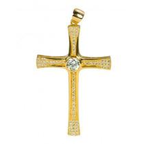 Pingente Crucifixo Prata Banhado Ouro 18k Com Zircônia