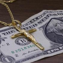 Pingente Cruz Crucifixo Grande Folheado Ouro 18k Banhado 1