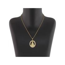 Gargantilha Medalha N. Senhora Swarovski Folheado A Ouro 18k