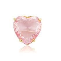 Pingente Coração Quartzo Rosa Folheado A Ouro 18k 1,5cm