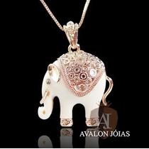 Colar Avalon Elefante Branco Índia Folheado A Ouro Rosê 18k