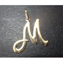 Pingente Letra M = Liso = Folheado A Ouro 18k